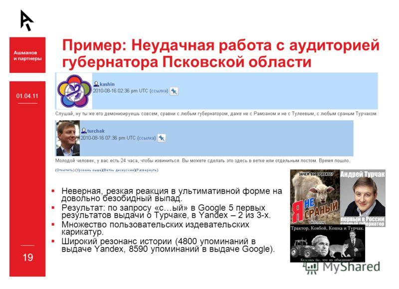 Пример: Неудачная работа с аудиторией губернатора Псковской области Неверная, резкая реакция в ультимативной форме на довольно безобидный выпад. Результат: по запросу «с…ый» в Google 5 первых результатов выдачи о Турчаке, в Yandex – 2 из 3-х. Множест