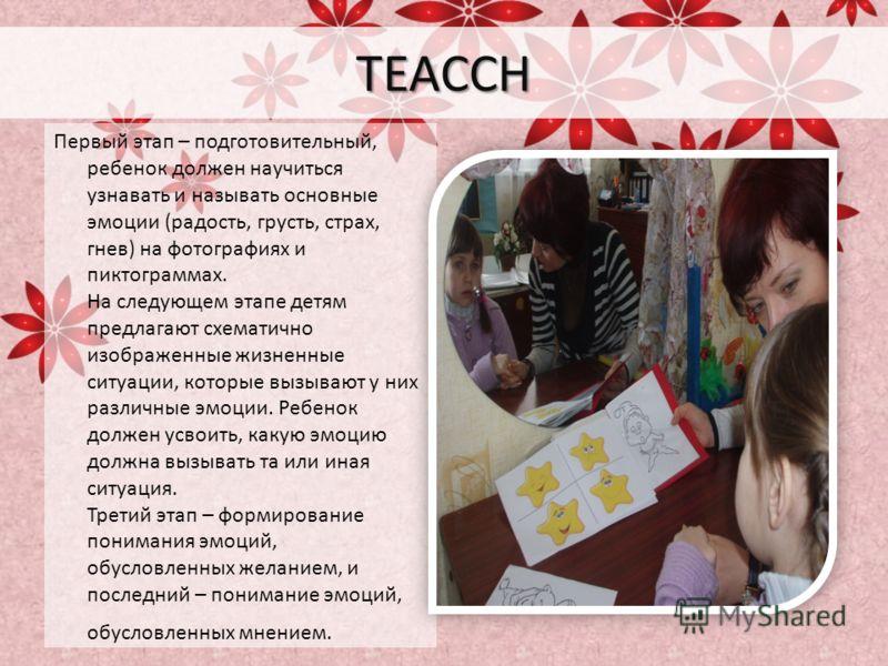 TEACCH Первый этап – подготовительный, ребенок должен научиться узнавать и называть основные эмоции (радость, грусть, страх, гнев) на фотографиях и пиктограммах. На следующем этапе детям предлагают схематично изображенные жизненные ситуации, которые