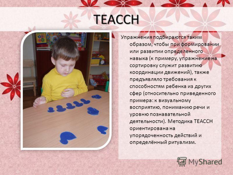 TEACCH Упражнения подбираются таким образом, чтобы при формировании или развитии определенного навыка (к примеру, упражнение на сортировку служит развитию координации движений), также предъявляло требования к способностям ребенка из других сфер (отно