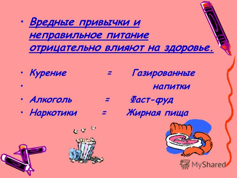 Вредные привычки и неправильное питание отрицательно влияют на здоровье. Курение = Газированные напитки Алкоголь = Фаст-фуд Наркотики = Жирная пища