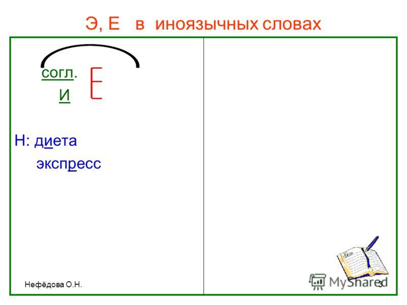 Нефёдова О.Н.3 Э, Е в иноязычных словах согл. И Н: диета экспресс