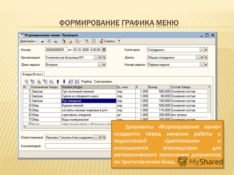 Документы «Формирование меню» создаются перед началом работы с подсистемой «Диетпитание» и используются впоследствии для автоматического заполнения документов по приготовлению блюд.