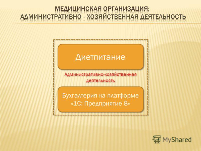 Диетпитание Бухгалтерия на платформе «1С: Предприятие 8» Административно-хозяйственная деятельность
