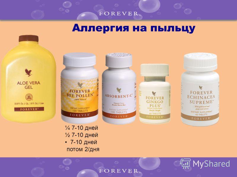Аллергия на пыльцу ¼ 7-10 дней ½ 7-10 дней 7-10 дней потом 2/дня