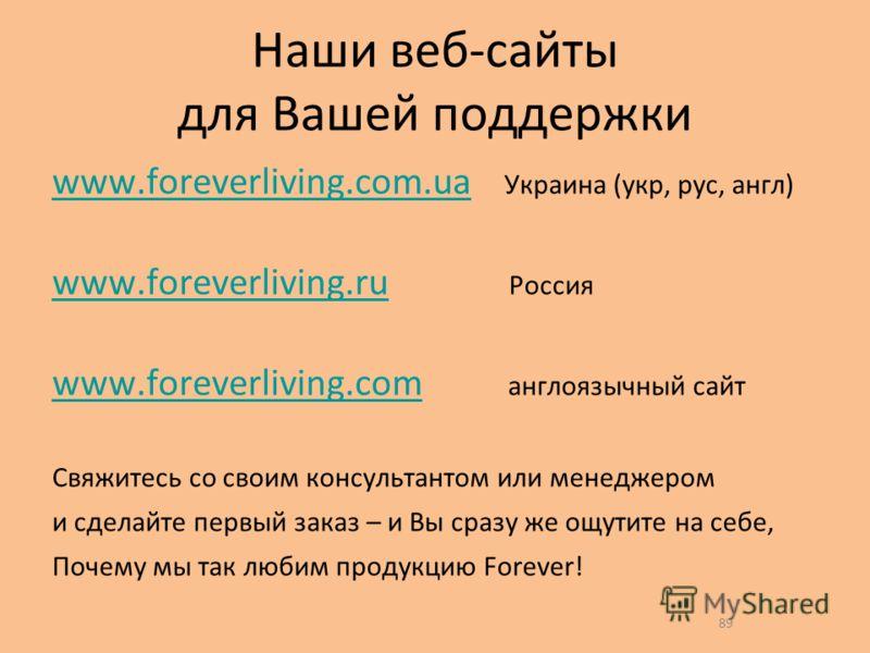 89 Наши веб-сайты для Вашей поддержки www.foreverliving.com.uawww.foreverliving.com.ua Украина (укр, рус, англ) www.foreverliving.ruwww.foreverliving.ru Россия www.foreverliving.comwww.foreverliving.com англоязычный сайт Свяжитесь со своим консультан