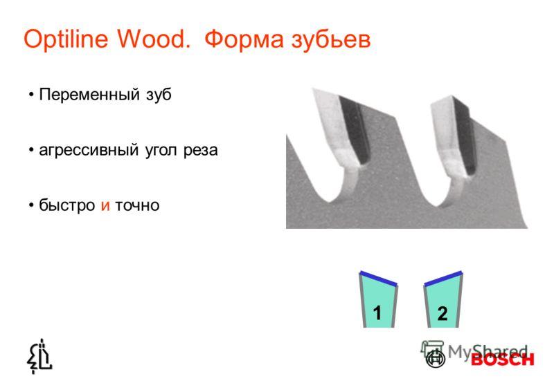 Optiline Wood. Форма зубьев 1 2 Переменный зуб быстро и точно агрессивный угол реза