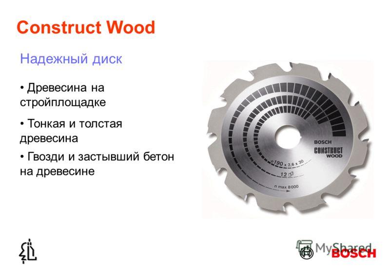 Construct Wood Надежный диск Древесина на стройплощадке Тонкая и толстая древесина Гвозди и застывший бетон на древесине