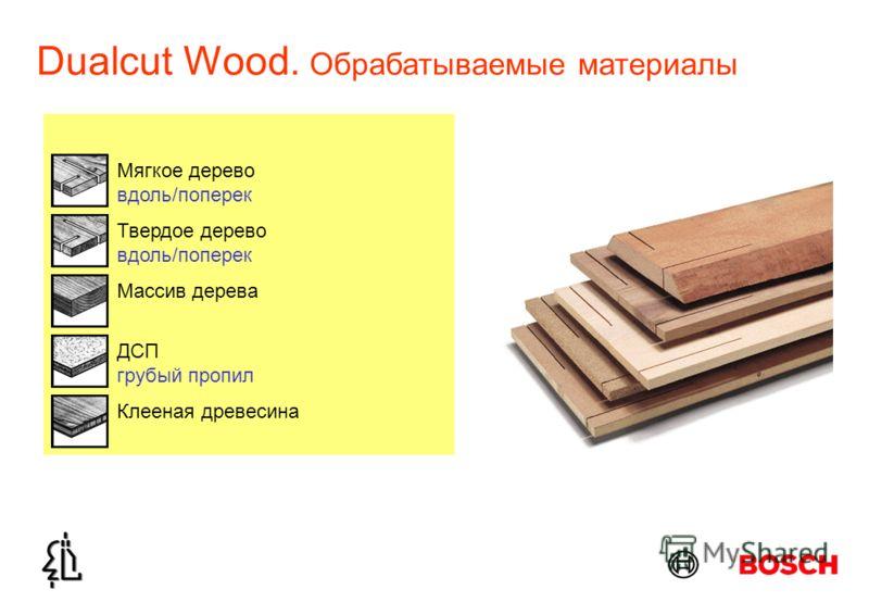 Dualcut Wood. Обрабатываемые материалы ДСП грубый пропил Массив дерева Мягкое дерево вдоль/поперек Твердое дерево вдоль/поперек Клееная древесина