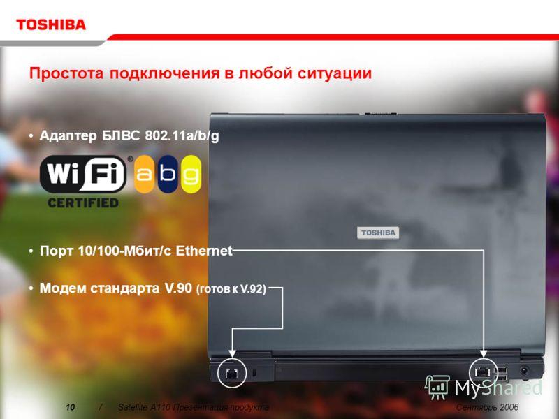 Сентябрь 20069/Satellite A110 Презентация продукта Интегрированный интерфейс: Захват, Редактирование, Авторинг и Прожиг – всё через один и тот же простой пользовательский интерфейс Изумительное качество: Особая чистота, четкость и точность видео и зв