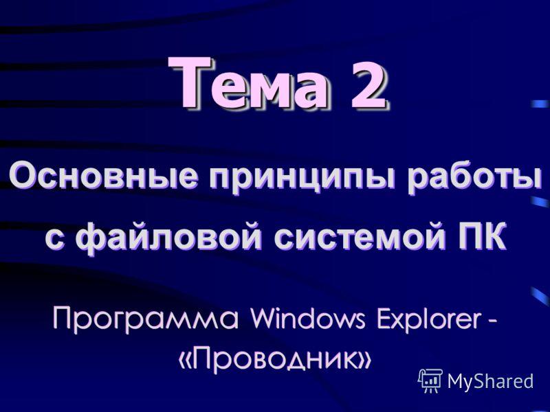 Основные принципы работы с файловой системой ПК Т ема 2 Программа Windows Explorer - «Проводник»