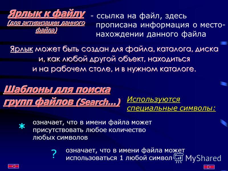 Ярлык к файлу (для активизации данного файла) - ссылка на файл, здесь прописана информация о место- нахождении данного файла Шаблоны для поиска групп файлов (Search…) Используются специальные символы: означает, что в имени файла может использоваться