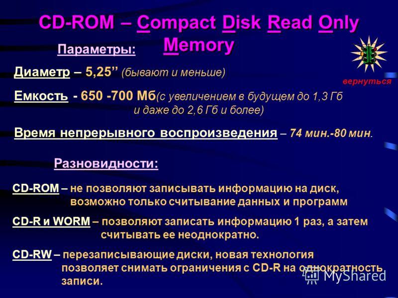 CD-ROM – Compact Disk Read Only Memory Диаметр – 5,25 (бывают и меньше) Емкость - 650 -700 Мб (с увеличением в будущем до 1,3 Гб и даже до 2,6 Гб и более) Время непрерывного воспроизведения – 74 мин.-80 мин. CD-ROM – не позволяют записывать информаци