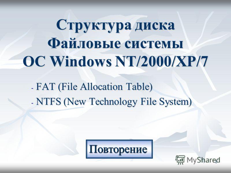 1 Структура диска Файловые системы ОС Windows NT/2000/XP/7 - FAT (File Allocation Table) - NTFS (New Technology File System) Повторение