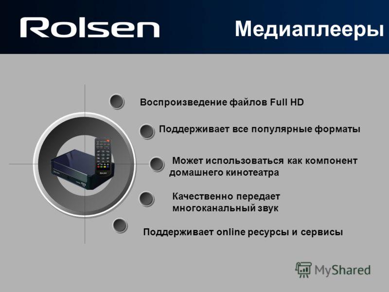 Воспроизведение файлов Full HD Может использоваться как компонент домашнего кинотеатра Поддерживает все популярные форматы Качественно передает многоканальный звук Поддерживает online ресурсы и сервисы Медиаплееры