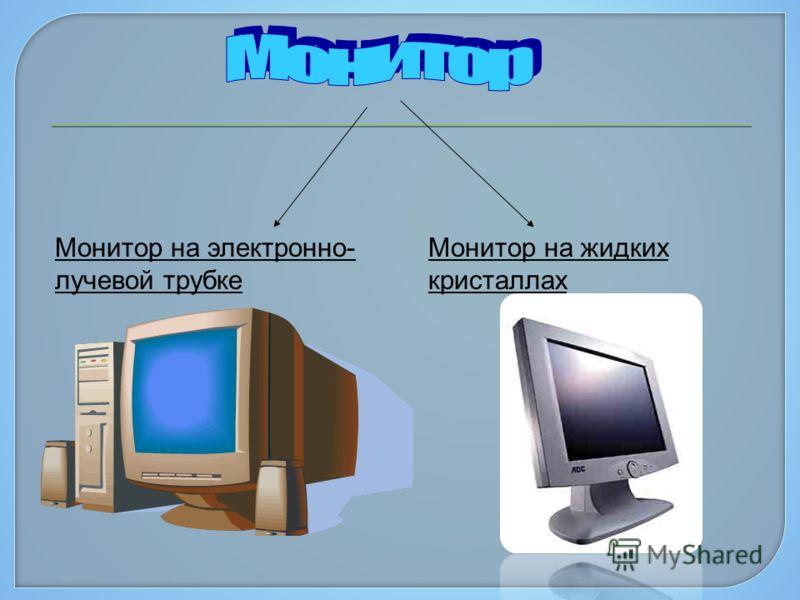 Монитор на электронно- лучевой трубке Монитор на жидких кристаллах