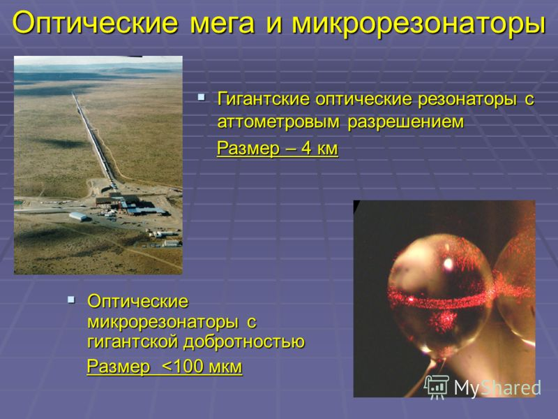 Оптические мега и микрорезонаторы Оптические микрорезонаторы с гигантской добротностью Оптические микрорезонаторы с гигантской добротностью Размер