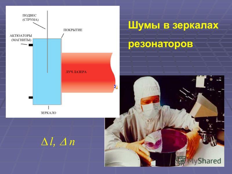 Шумы в зеркалах резонаторов l, n