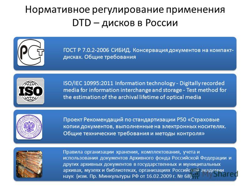 Нормативное регулирование применения DTD – дисков в России ГОСТ Р 7.0.2-2006 СИБИД. Консервация документов на компакт- дисках. Общие требования ISO/IEC 10995:2011 Information technology - Digitally recorded media for information interchange and stora