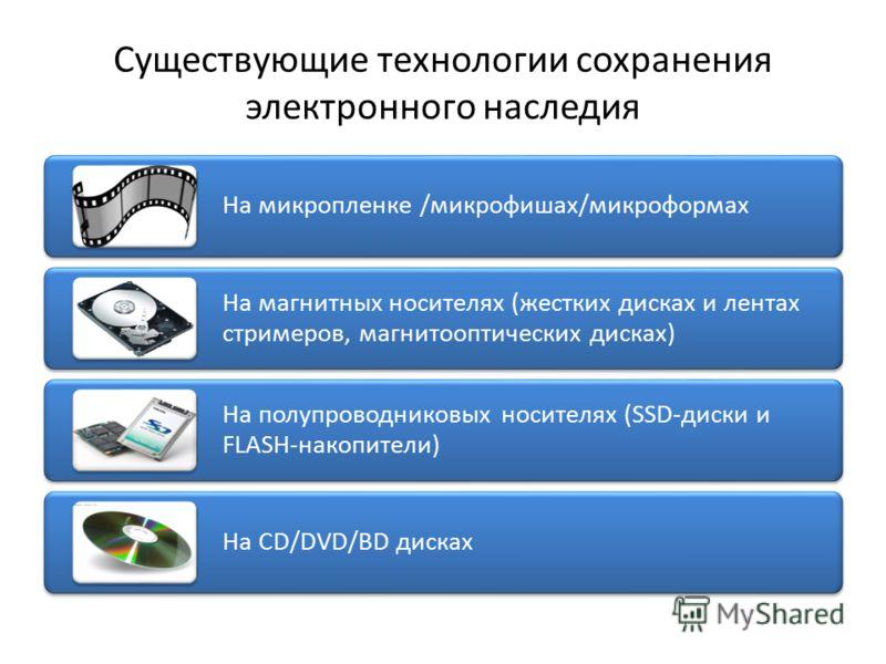 Существующие технологии сохранения электронного наследия На микропленке /микрофишах/микроформах На магнитных носителях (жестких дисках и лентах стримеров, магнитооптических дисках) На полупроводниковых носителях (SSD-диски и FLASH-накопители) На CD/D