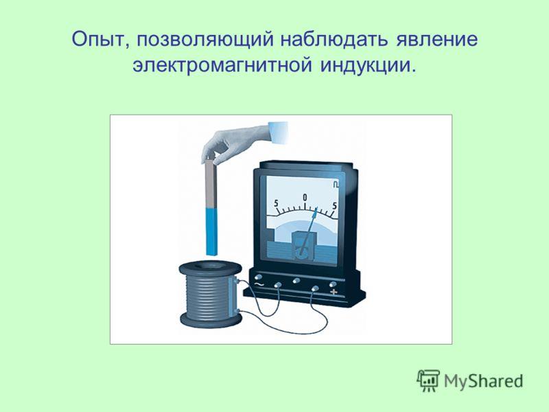 Опыт, позволяющий наблюдать явление электромагнитной индукции.