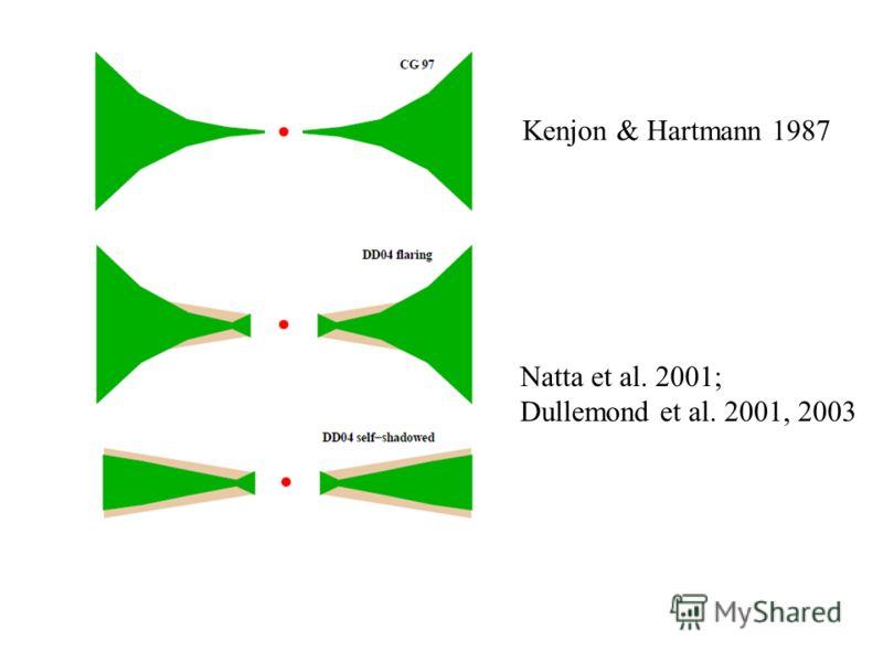 Natta et al. 2001; Dullemond et al. 2001, 2003 Kenjon & Hartmann 1987
