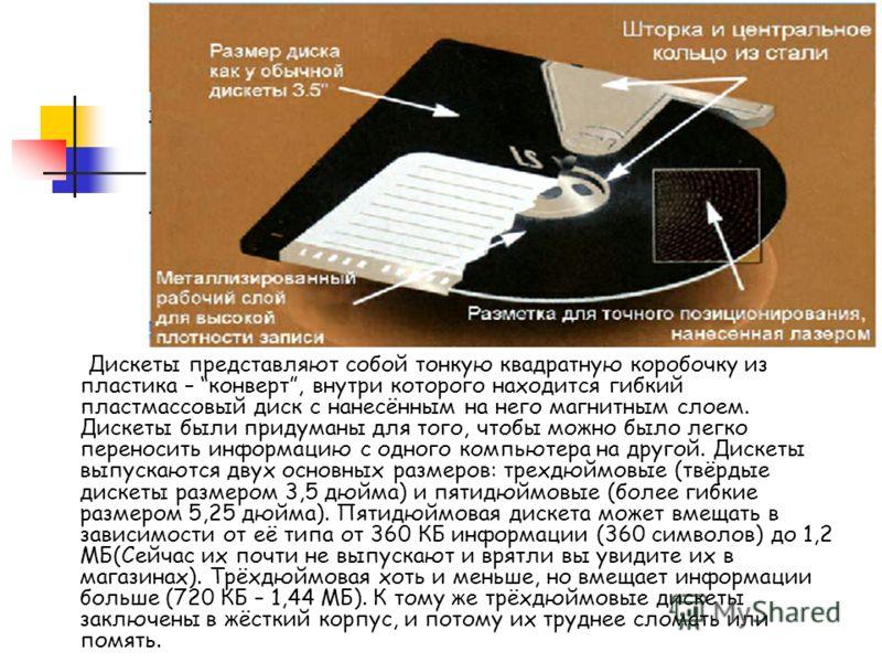 Дискеты представляют собой тонкую квадратную коробочку из пластика – конверт, внутри которого находится гибкий пластмассовый диск с нанесённым на него магнитным слоем. Дискеты были придуманы для того, чтобы можно было легко переносить информацию с од