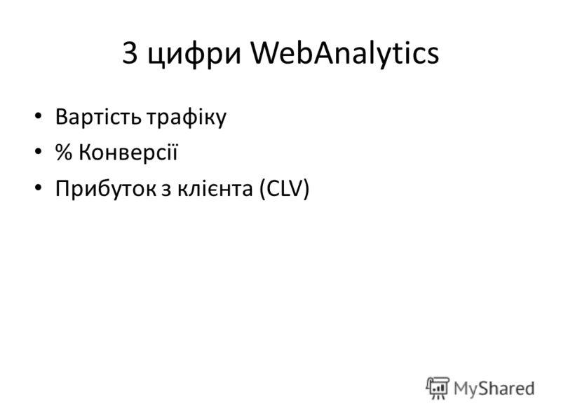 3 цифри WebAnalytics Вартість трафіку % Конверсії Прибуток з клієнта (CLV)