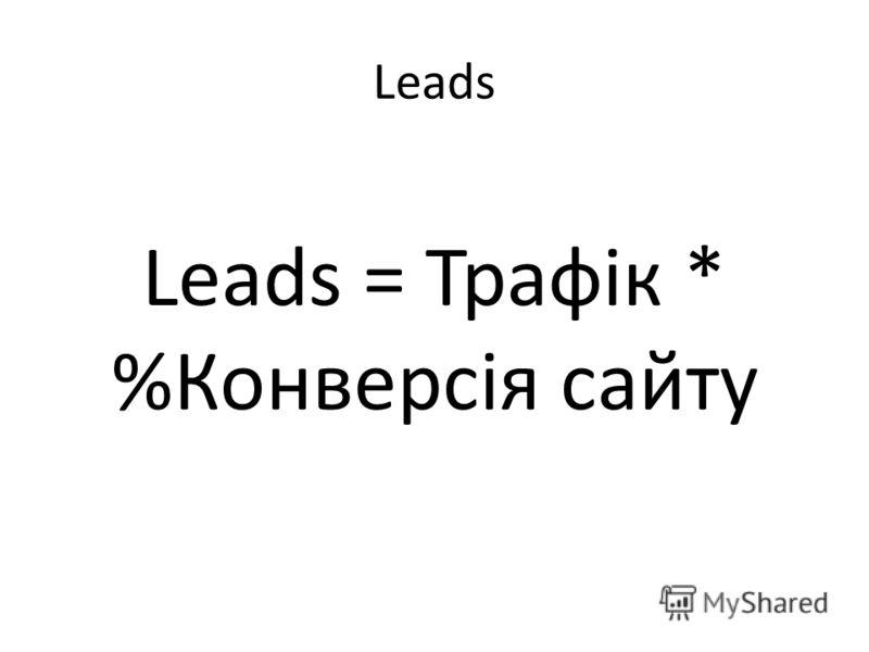 Leads Leads = Трафік * %Конверсія сайту