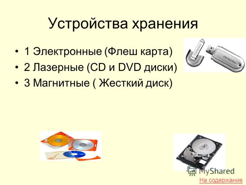 Устройства хранения 1 Электронные (Флеш карта) 2 Лазерные (CD и DVD диски) 3 Магнитные ( Жесткий диск) На содержание