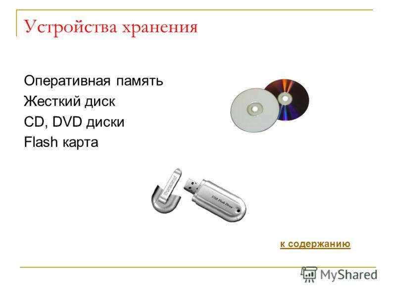 Устройства хранения Оперативная память Жесткий диск СD, DVD диски Flash карта к содержанию