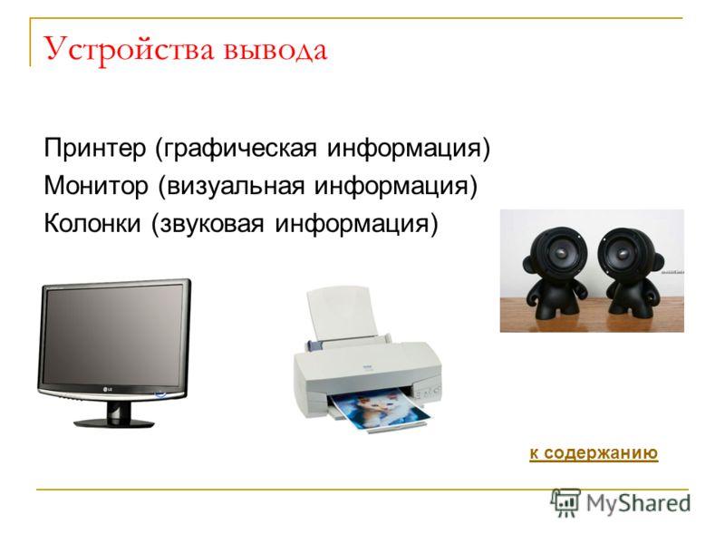 Устройства вывода Принтер (графическая информация) Монитор (визуальная информация) Колонки (звуковая информация) к содержанию