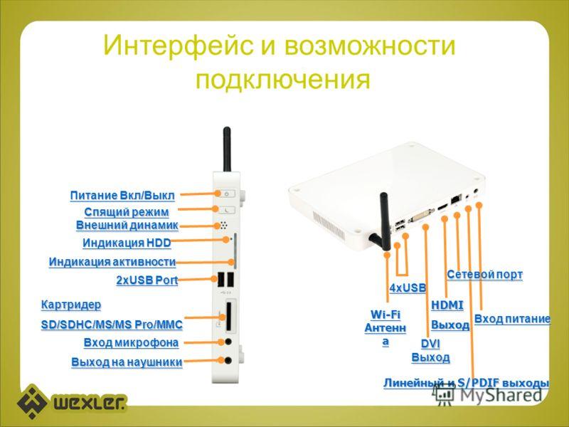 2хUSB Port Картридер SD/SDHC/MS/MS Pro/MMC Вход микрофона Выход на наушники Индикация активности Внешний динамик Индикация HDD Питание Вкл/Выкл Спящий режим DVI Выход Линейный и S/PDIF выходы 4хUSB Wi-Fi Антенн а HDMIВыход Вход питание Сетевой порт И