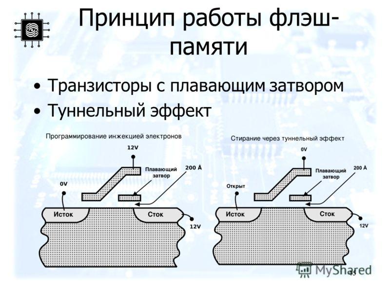 45 Принцип работы флэш- памяти Транзисторы с плавающим затвором Туннельный эффект