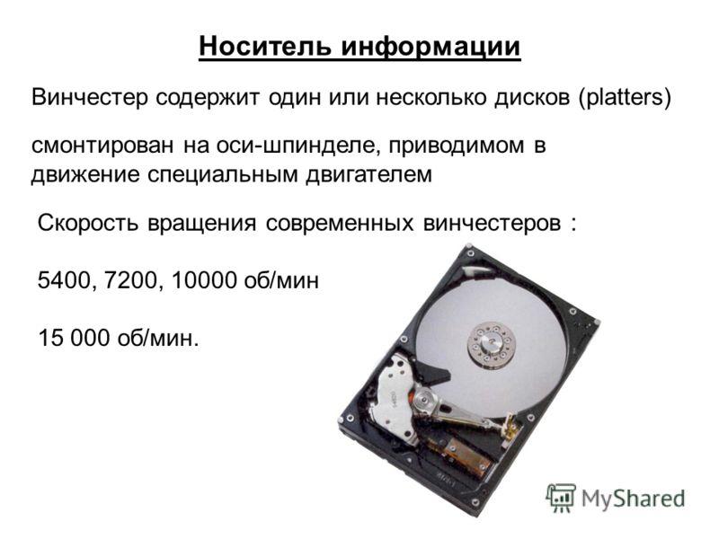 Носитель информации Винчестер содержит один или несколько дисков (platters) смонтирован на оси-шпинделе, приводимом в движение специальным двигателем Скорость вращения современных винчестеров : 5400, 7200, 10000 об/мин 15 000 об/мин.
