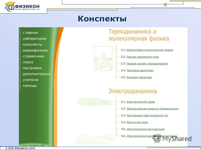 © ООО ФИЗИКОН 2002 © ООО ФИЗИКОН 2005 14 Конспекты