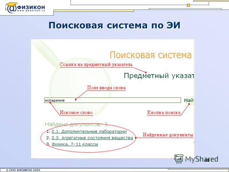 © ООО ФИЗИКОН 2002 © ООО ФИЗИКОН 2005 18 Поисковая система по ЭИ