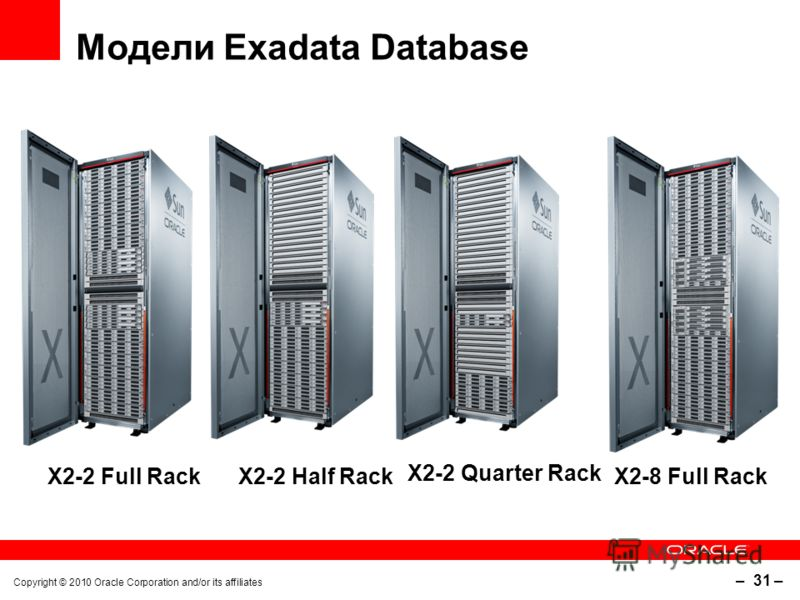 Copyright © 2010 Oracle Corporation and/or its affiliates – 31 – Модели Exadata Database X2-2 Full Rack X2-2 Half Rack X2-2 Quarter Rack X2-8 Full Rack