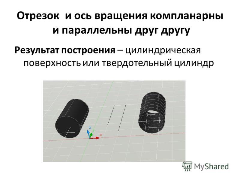 Отрезок и ось вращения компланарны и параллельны друг другу Результат построения – цилиндрическая поверхность или твердотельный цилиндр