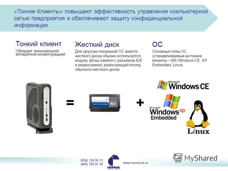 «Тонкие Клиенты» повышают эффективность управления компьютерной сетью предприятия и обеспечивают защиту конфиденциальной информации. Тонкий клиент Обладает минимальной аппаратной конфигурацией Для загрузки локальной ОС вместо жесткого диска обычно ис