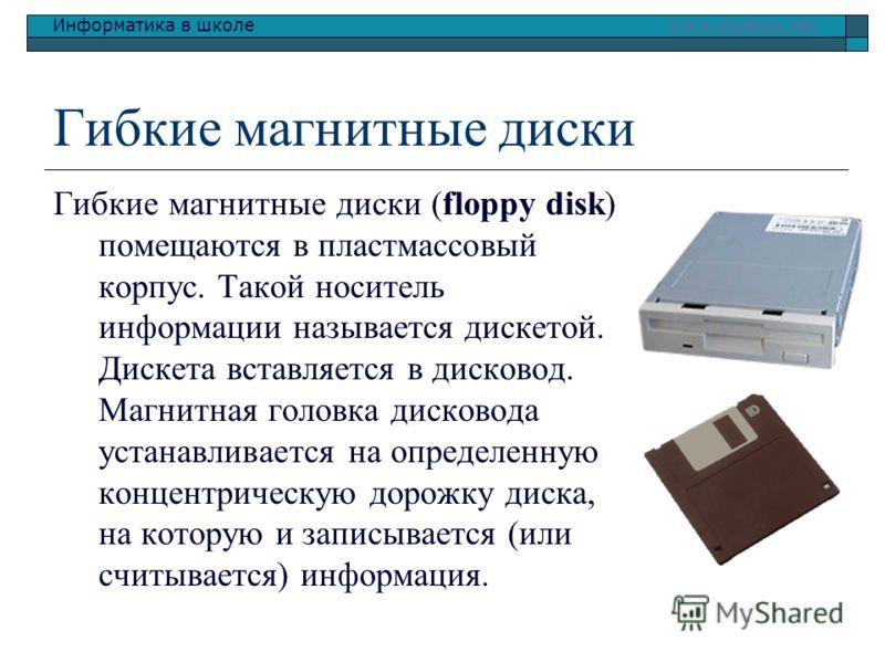Информатика в школе www.klyaksa.netwww.klyaksa.net Гибкие магнитные диски Гибкие магнитные диски (floppy disk) помещаются в пластмассовый корпус. Такой носитель информации называется дискетой. Дискета вставляется в дисковод. Магнитная головка дисково
