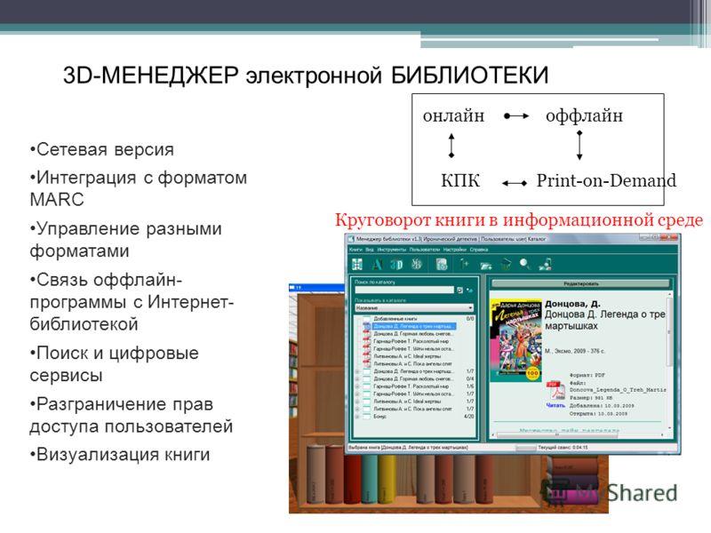 3D-МЕНЕДЖЕР электронной БИБЛИОТЕКИ Сетевая версия Интеграция с форматом MARC Управление разными форматами Связь оффлайн- программы с Интернет- библиотекой Поиск и цифровые сервисы Разграничение прав доступа пользователей Визуализация книги онлайноффл