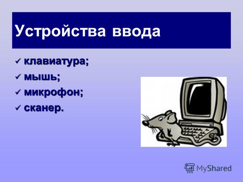 Устройства ввода клавиатура; клавиатура; мышь; мышь; микрофон; микрофон; сканер. сканер.