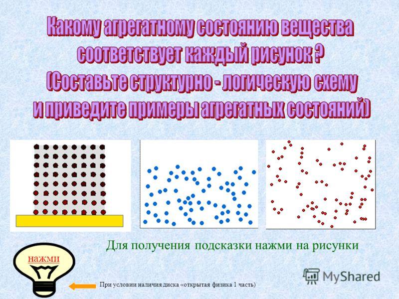 Для получения подсказки нажми на рисунки нажми При условии наличия диска «открытая физика 1 часть)