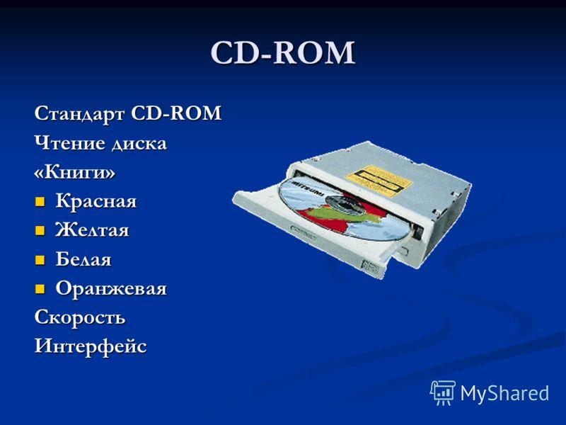 CD-ROM Стандарт CD-ROM Чтение диска «Книги» Красная Красная Желтая Желтая Белая Белая Оранжевая ОранжеваяСкоростьИнтерфейс