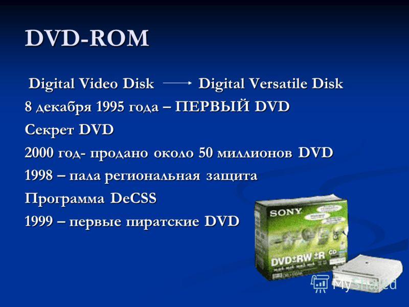 DVD-ROM Digital Video Disk Digital Versatile Disk Digital Video Disk Digital Versatile Disk 8 декабря 1995 года – ПЕРВЫЙ DVD Секрет DVD 2000 год- продано около 50 миллионов DVD 1998 – пала региональная защита Программа DeCSS 1999 – первые пиратские D