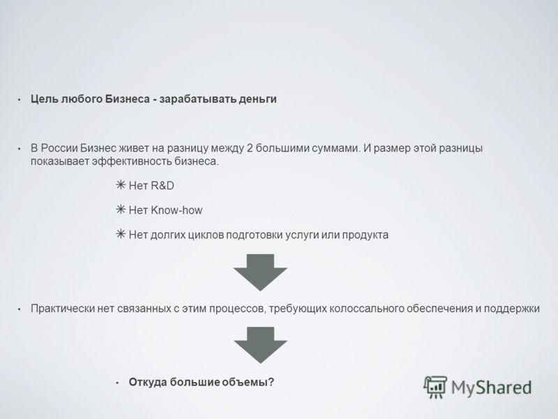 Цель любого Бизнеса - зарабатывать деньги В России Бизнес живет на разницу между 2 большими суммами. И размер этой разницы показывает эффективность бизнеса. Нет R&D Нет Know-how Нет долгих циклов подготовки услуги или продукта Практически нет связанн