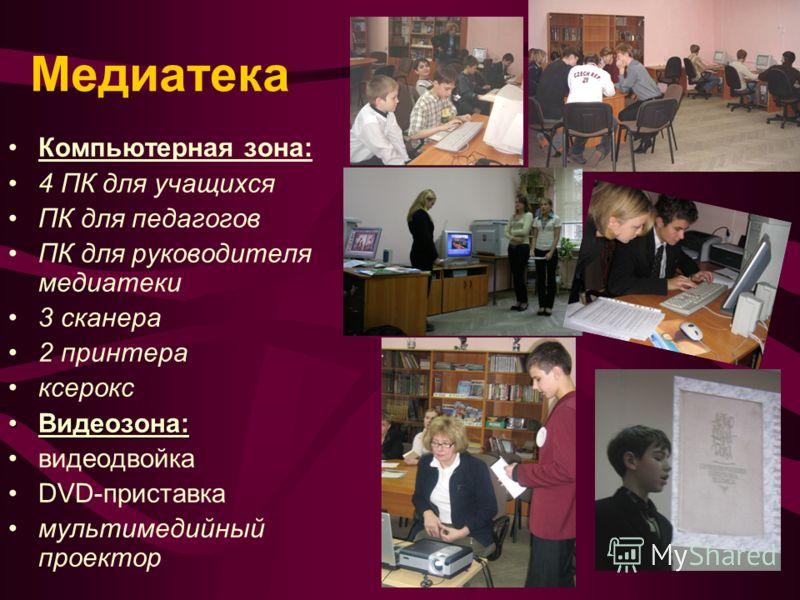 Медиатека Компьютерная зона: 4 ПК для учащихся ПК для педагогов ПК для руководителя медиатеки 3 сканера 2 принтера ксерокс Видеозона:Видеозона: видеодвойка DVD-приставка мультимедийный проектор
