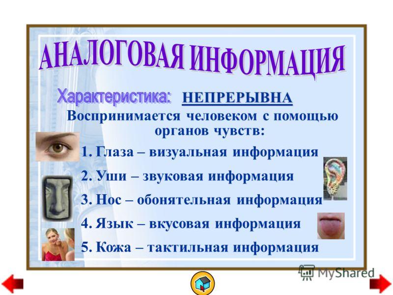 НЕПРЕРЫВНА Воспринимается человеком с помощью органов чувств: 1.Глаза – визуальная информация 2.Уши – звуковая информация 3.Нос – обонятельная информация 4.Язык – вкусовая информация 5.Кожа – тактильная информация