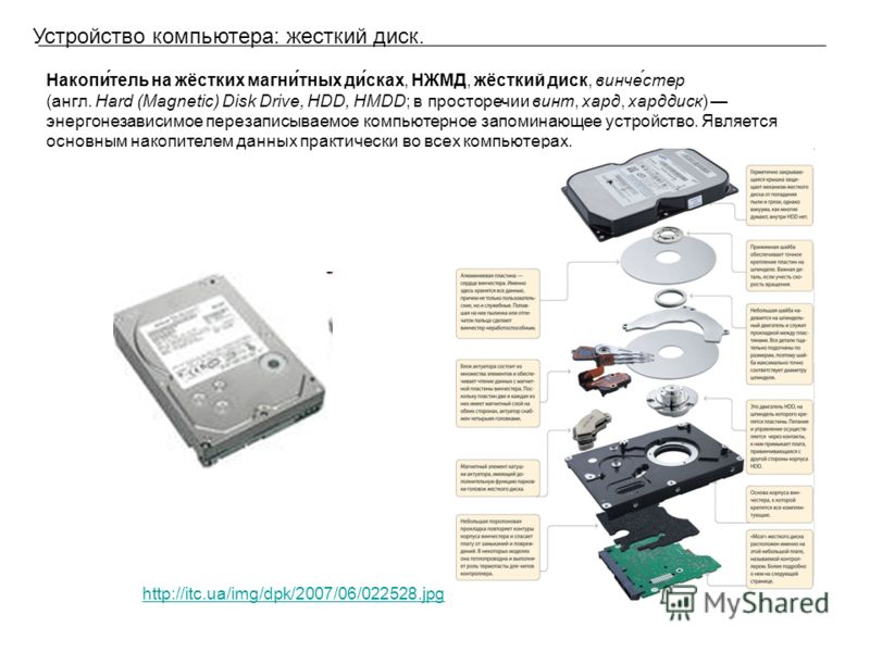 Устройство компьютера: жесткий диск. Накопи́тель на жёстких магни́тных ди́сках, НЖМД, жёсткий диск, винче́стер (англ. Hard (Magnetic) Disk Drive, HDD, HMDD; в просторечии винт, хард, харддиск) энергонезависимое перезаписываемое компьютерное запоминаю