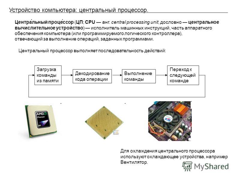 Устройство компьютера: центральный процессор. Центра́льный проце́ссор (ЦП; CPU анг. central processing unit, дословно центральное вычислительное устройство) исполнитель машинных инструкций, часть аппаратного обеспечения компьютера (или программируемо
